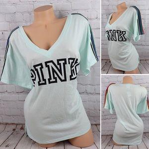 VS PINK Logo Short Sleeve V-Neck Rainbow Tee Short